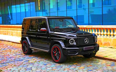Mercedes-Benz G63 AMG, front view, black SUV, tuning G-Class, Gelendevagen, new black G63, German cars, Mercedes