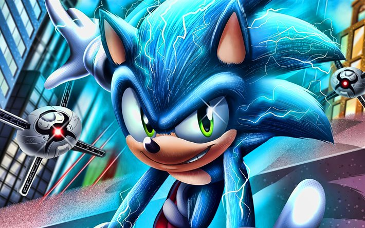 Sonic, 4k, 3D art, Sonic The Hedgehog, poster, 2020 movie, Blue Sonic