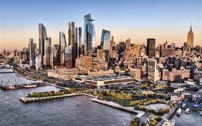 Hudson Yards, Manhattan, New York City, Empire State Building, evening, sunset, NYC, skyscrapers, modern buildings, New York, USA