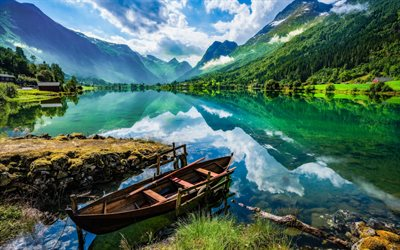 mountain lake, hdr, glacial lake, spring, mountain landscape, wooden boat on the lake, Norway