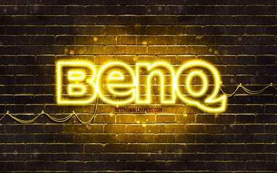 Benq yellow logo, 4k, yellow brickwall, Benq logo, brands, Benq neon logo, Benq