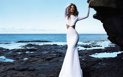 Carmella Rose, White luxury dress, model, beautiful woman