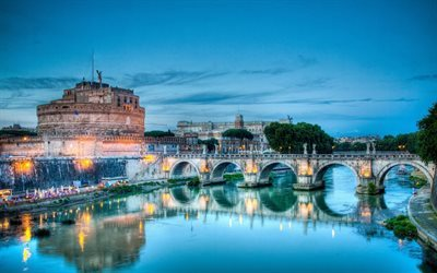 Castle of Saint Angela, night, bridge, The Sad Castle, Tiber, Rome, Italy