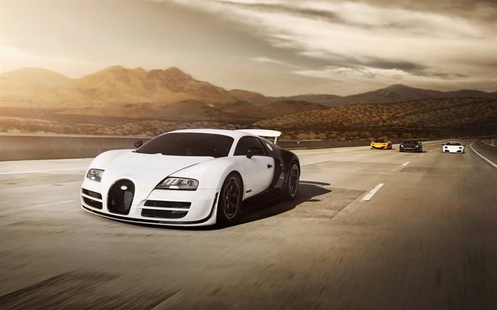 download wallpapers hypercars bugatti veyron road. Black Bedroom Furniture Sets. Home Design Ideas