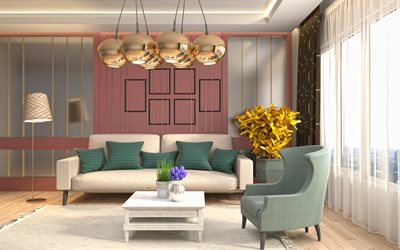 interior of living room, retro style, golden balls of chandelier, modern design interior, project of living room