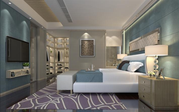 Moderne Stilvolle Schlafzimmer, Luxus Design  , Schlafzimmer In Blau Töne