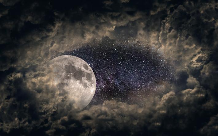 Scarica Sfondi Luna Il Cielo Stellato 4k Notte Nuvoloso La