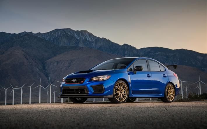 Download Wallpapers 4k Subaru Wrx Sti Road 2018 Cars Blue Wrx