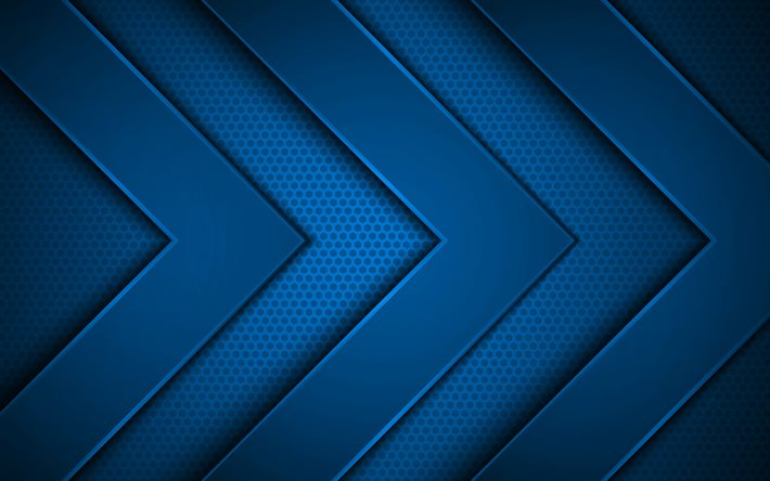 blue metal arrows, 4k, creative, 3D arrows, blue metal grid background, blue arrows, background with arrows, arrows concepts, arrows