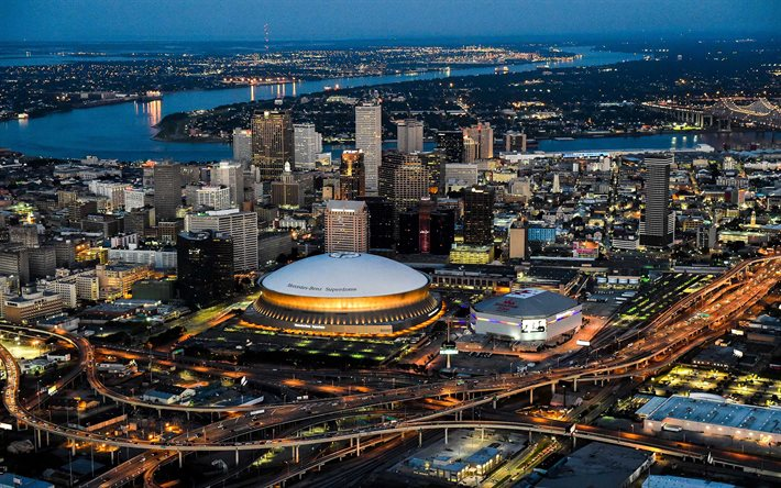 Mercedes-Benz Superdome, New Orleans, Superdome, evening, sunset, New Orleans Saints Stadium, NFL, New Orleans panorama, New Orleans cityscape, skyscrapers, Louisiana, USA, New Orleans skyline