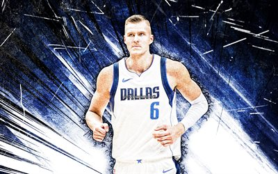 4k, Kristaps Porzingis, grunge art, Dallas Mavericks, NBA, basketball, Kristaps Porzingis Dallas Mavericks, blue abstract rays, Kristaps Porzingis 4K