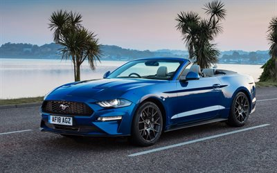 Ford Mustang, 2018, blue cabriolet, sports coupe, new blue Mustang, sunset, USA, American cars, Ecoboost, Convertible, Ford