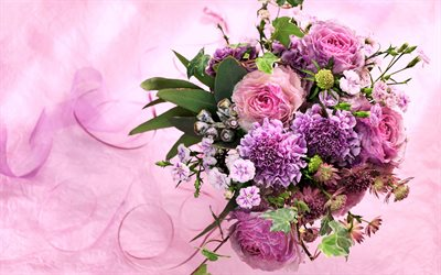 Download wallpapers purple roses wedding bouquet pink flowers purple roses wedding bouquet pink flowers bouquet of the bride pink background mightylinksfo Choice Image