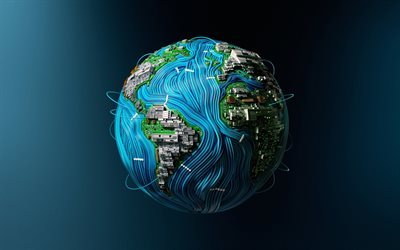 Earth, 3D art, planet, microcircuits, wires, chips, sci-fi, universe
