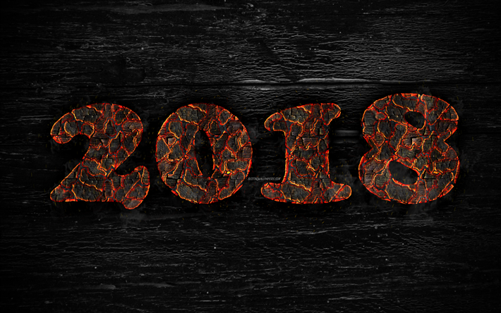 2018 year, 4k, fiery letters, wooden texture, creative, 2018 concepts