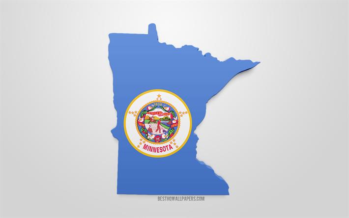 Lataa Kuva 3d Flag Of Minnesota Kartta Siluetti Minnesota