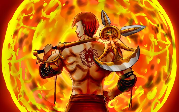 Download Wallpapers Escanor 4k Fiery Sun The Seven Deadly Sins Manga Nanatsu No Taizai Escanor With Axe For Desktop Free Pictures For Desktop Free
