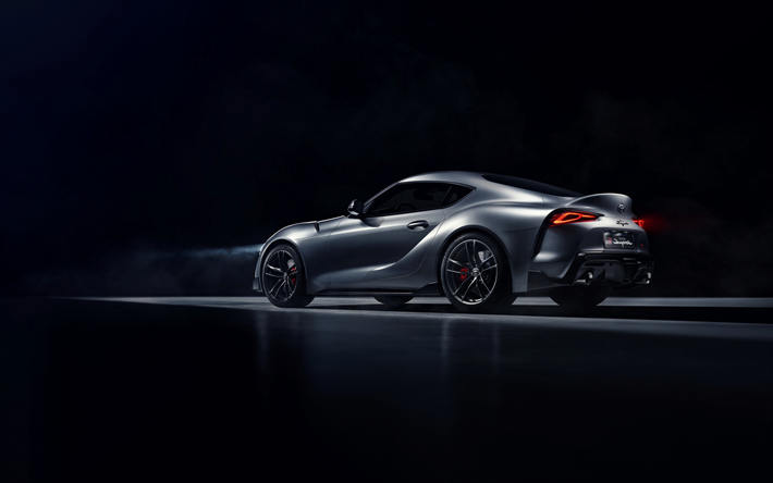 Download Wallpapers Toyota Supra 2019 Rear View Silver Sports