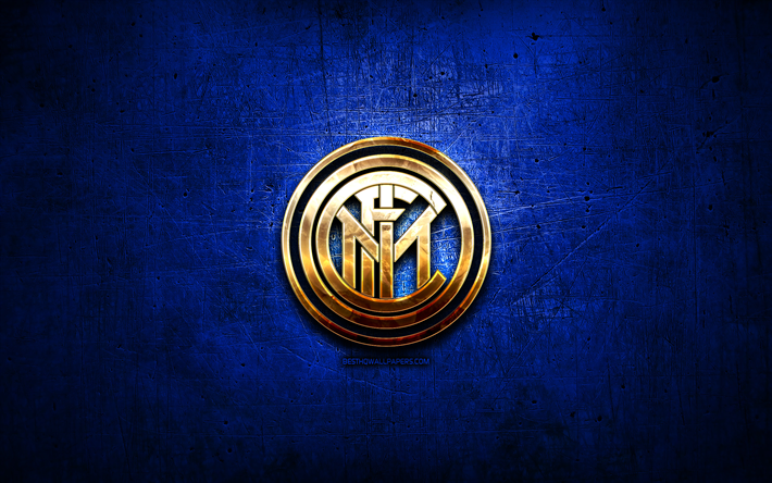 Download Wallpapers Internazionale Golden Logo Serie A Blue Abstract Background Soccer Italian Football Club Internazionale Logo Football Inter Milan Fc Italy For Desktop Free Pictures For Desktop Free