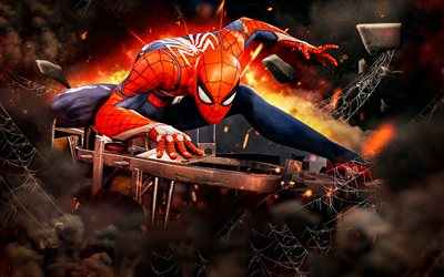 Spiderman, 3D art, Spider-Man, adventure, superheroes, close-up