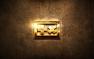 Martin Garrix golden logo, Dutch DJ, brown metal background, creative, Martin Garrix logo, brands, Martin Garrix