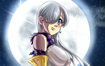 Elizabeth Liones, 4k, moon, The Seven Deadly Sins, manga, Nanatsu no Taizai, girl with blue eyes