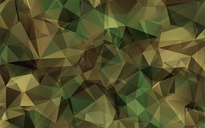 low poly camouflage, 4k, camouflage backgrounds, green camouflage, military abstract camouflage, green backgrounds, camouflage textures, low poly art, camouflage pattern