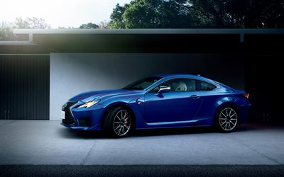 Lexus RC F, 2019, blue sports coupe, exterior, side view, new blue RC F, japanese cars, Lexus