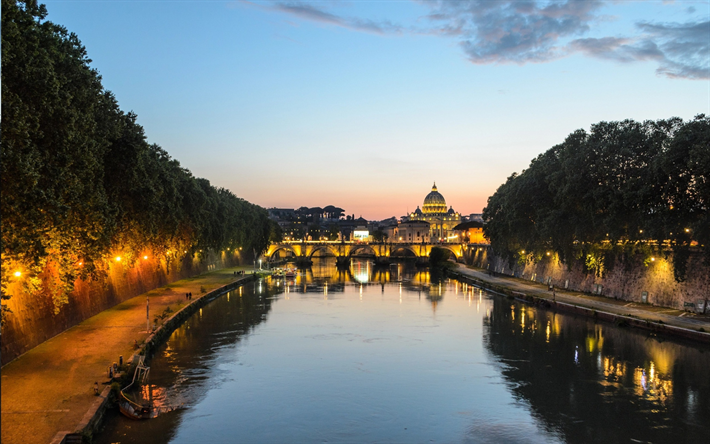 Rome, evening, Tiber river, bridges, beautiful city, cityscape, Italy