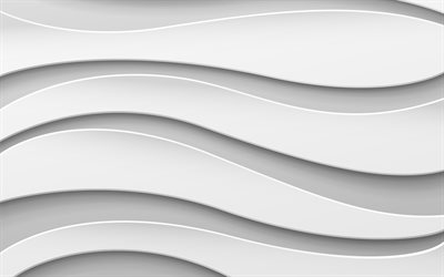 3D waves background, 4k, white wavy background, 3D waves texture, 3D art, waves textures, wavy backgrounds