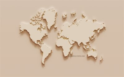 World map, creative art, beige plaster world map, wall texture, world map concepts, 3D map