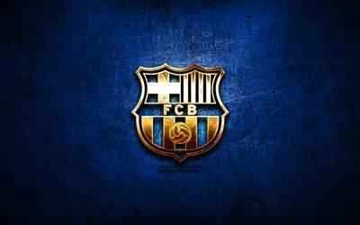 Télécharger fonds d'écran FC barcelone, logo doré, LaLiga, bleu, abstrait, fond, football, club ...