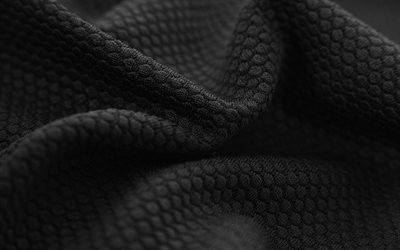 black fabric textures, 4k, black wavy textures, wavy fabric background, fabric textures, black backgrounds