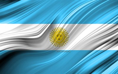 4k, Argentinian flag, South American countries, 3D waves, Flag of Argentina, national symbols, Argentina 3D flag, art, South America, Argentina