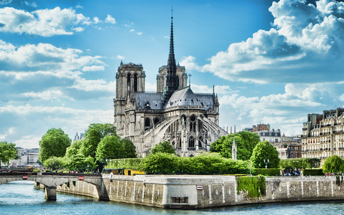 Notre-Dame de Paris, 4k, back view, cathedral, french landmarks, France, Europe, HDR