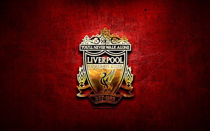 Liverpool Fc Logo 3d: Download Wallpapers Liverpool FC, Golden Logo, Premier