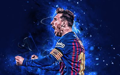 Lionel Messi, 2019, joy, football stars, Barcelona FC, side view, argentinian footballers, FCB, Leo Messi, La Liga, Messi, soccer, neon lights, LaLiga, Spain, Barca