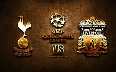 Tottenham Hotspur vs Liverpool, golden logo, 2019 UEFA Champions League Final, 1st June 2019, creative, Tottenham Hotspur FC, Liverpool FC, UEFA Champions League, Final, UEFA, Tottenham Hotspur FC vs Liverpool FC, Tottenham vs Liverpool