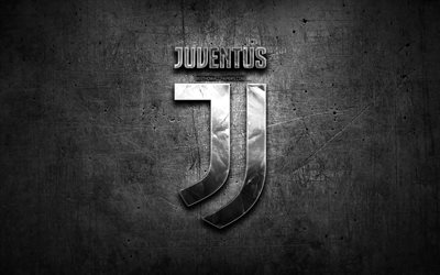 Juventus FC, silver logo, Serie A, black abstract background, soccer, italian football club, Juventus logo, football, Juventus, Juve, Italy