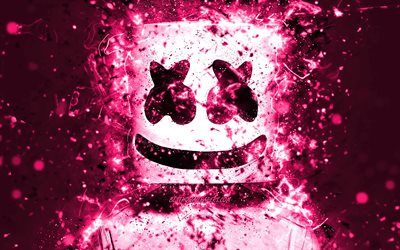 4k, DJ Marshmello, Christopher Comstock, close-up, pink neon, american DJ, fan art, Marshmello 4K, artwork, superstars, creative, Marshmello, DJs