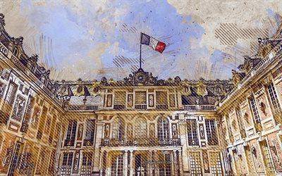 Versailles, Paris, France, grunge art, creative art, painted Versailles, drawing, Versailles grunge, digital art, France flag grunge, Paris grunge