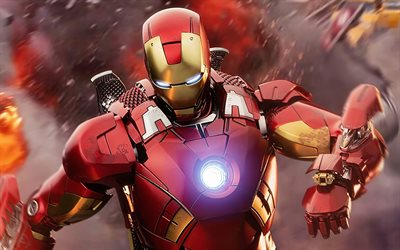 IronMan, 4k, artwork, superheroes, battle, DC Comics, Iron Man, 3D art