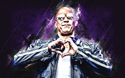 Vin Diesel, portrait, purple stone background, american actor, creative art, Mark Sinclair
