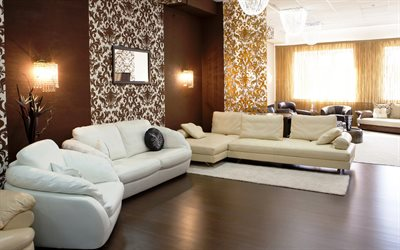 brown room, white sofas, modern interiors, modern design, hall, brown interior