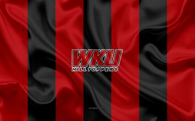 western kentucky hilltoppers, american-football-team, emblem, seide flagge, rot-schwarz seide textur, ncaa western kentucky hilltoppers-logo, bowling green, kentucky, usa, american football