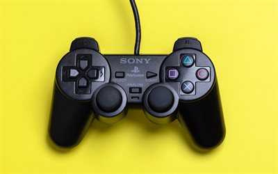 Sony Playstation joystick, 4k, game consoles, joysticks, yellow backgrounds, Sony Playstation