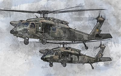 Mitsubishi H-60, Japanese military helicopters, grunge art, creative art, painted SH-60JK Seahawk, UH-60JAs, drawing, Mitsubishi H-60 grunge, digital art, JMSDF, Japan Maritime Self-Defense Force, JSDF, Japan