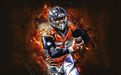 von miller, denver broncos, nfl, porträt, american football, orange, stein, hintergrund, national football league