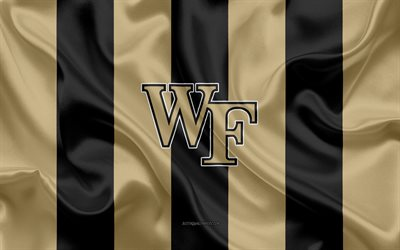 wake forest dämon diakone, american-football-team, emblem, seide, flagge, gold, schwarz seide textur, ncaa, wake forest dämon diakone logo, winston-salem, north carolina, usa, american football