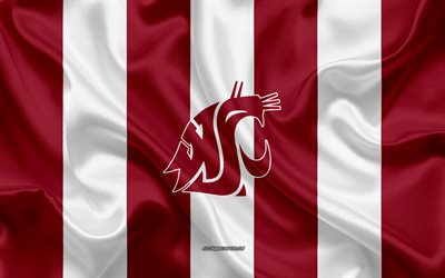 washington state cougars, american-football-team, emblem, seide flagge, burgund weiße seide textur, ncaa washington state cougars-logo, pullman, washington, usa, american football